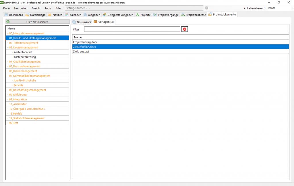 Ordnerstruktur für die Dokumente eines Projektes